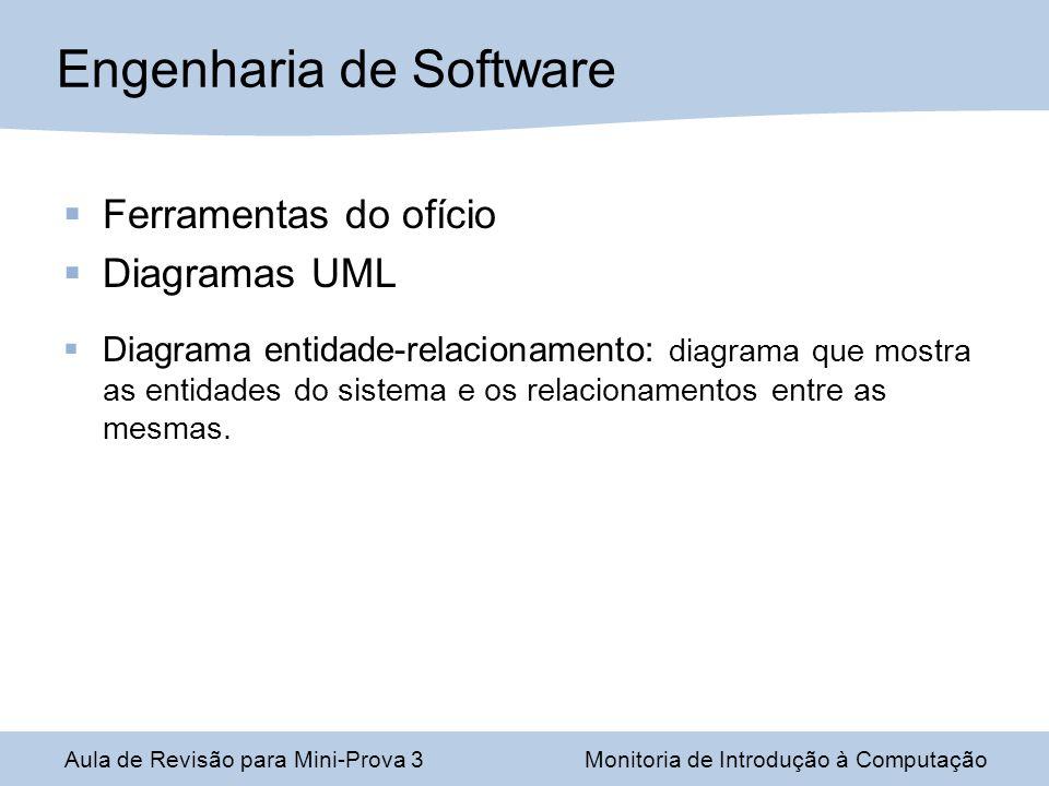 Ferramentas do ofício Diagramas UML Diagrama entidade-relacionamento: diagrama que mostra as entidades do sistema e os relacionamentos entre as mesmas