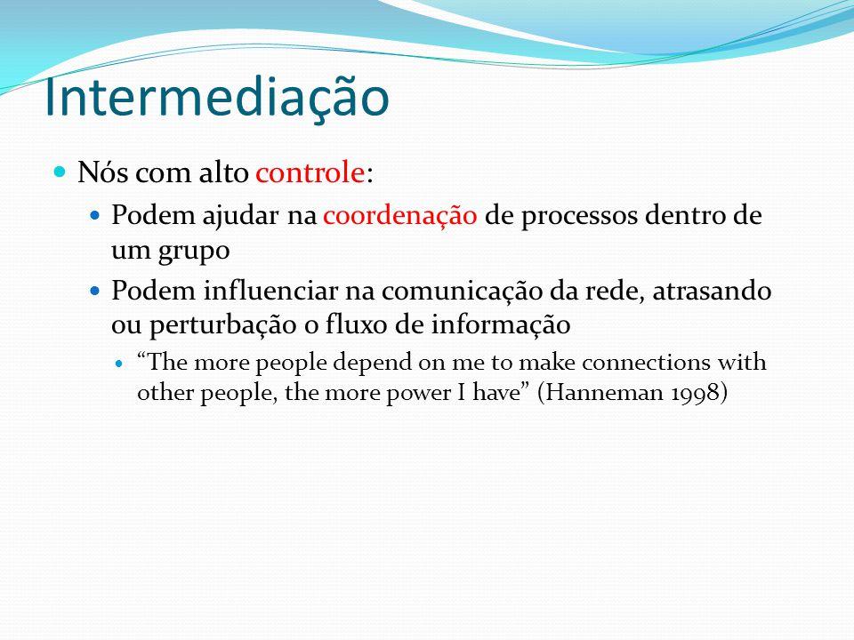 Intermediação Nós com alto controle: Podem ajudar na coordenação de processos dentro de um grupo Podem influenciar na comunicação da rede, atrasando o