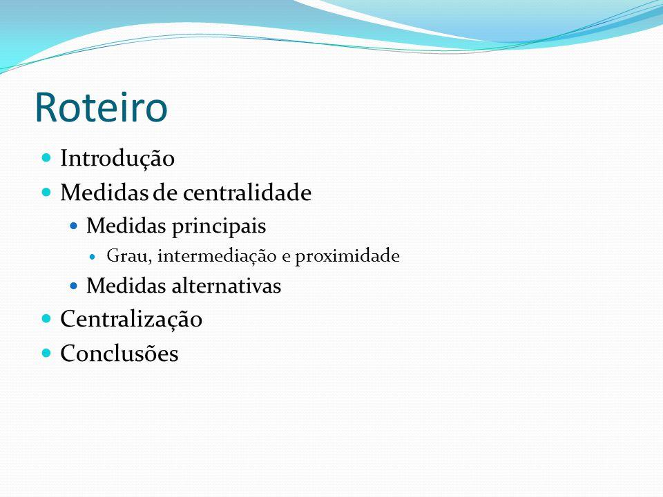 Roteiro Introdução Medidas de centralidade Medidas principais Grau, intermediação e proximidade Medidas alternativas Centralização Conclusões