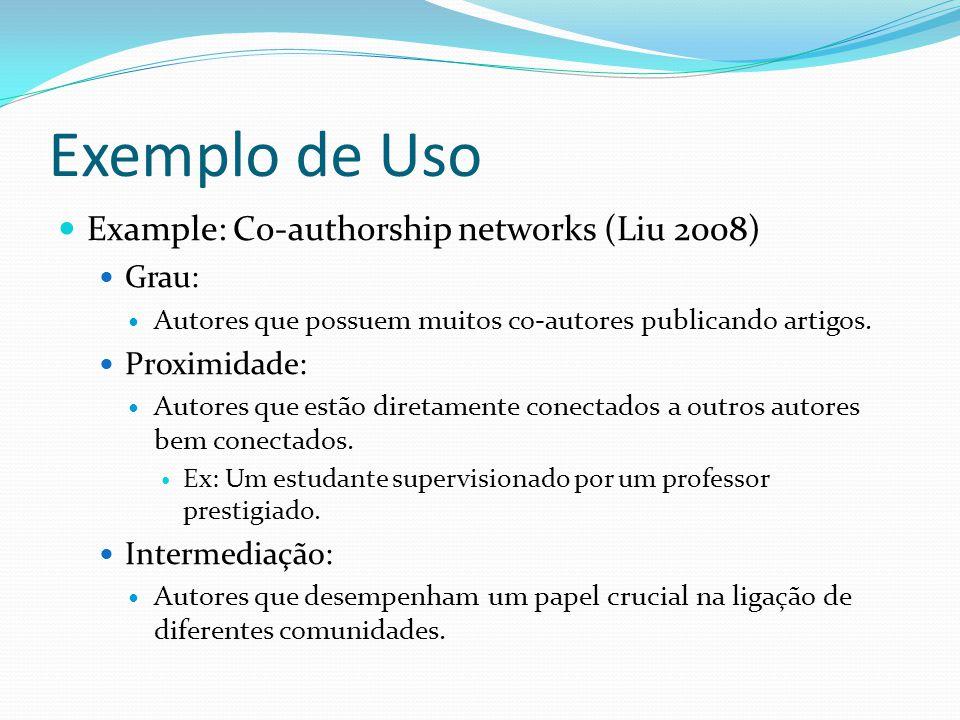 Exemplo de Uso Example: Co-authorship networks (Liu 2008) Grau: Autores que possuem muitos co-autores publicando artigos. Proximidade: Autores que est