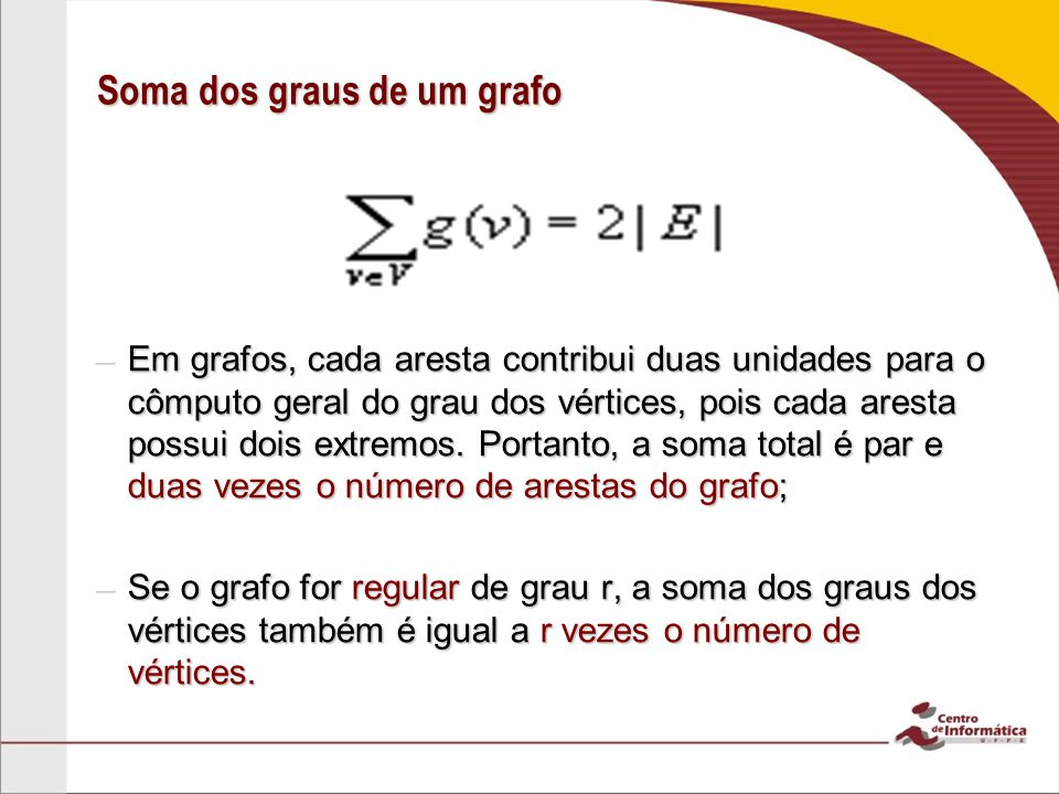 Soma dos graus de um grafo –Em grafos, cada aresta contribui duas unidades para o cômputo geral do grau dos vértices, pois cada aresta possui dois ext
