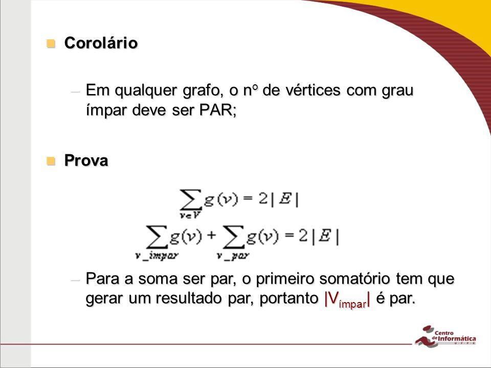 Corolário Corolário –Em qualquer grafo, o n o de vértices com grau ímpar deve ser PAR; Prova Prova –Para a soma ser par, o primeiro somatório tem que