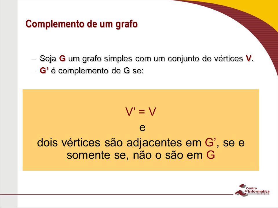 Complemento de um grafo –Seja G um grafo simples com um conjunto de vértices V. –G é complemento de G se: V = V e dois vértices são adjacentes em G, s