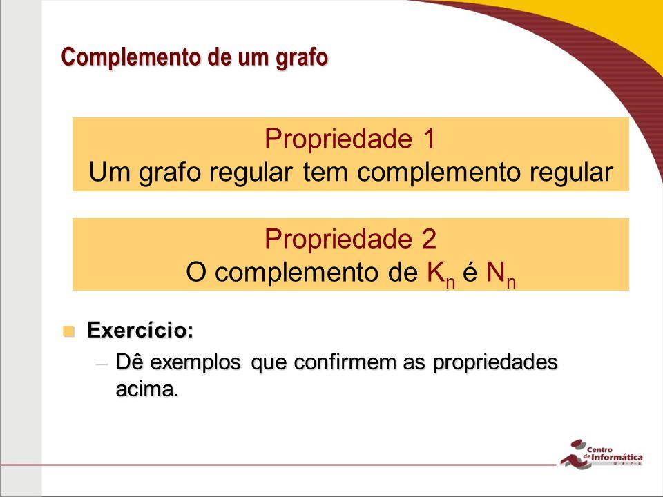 Exercício: Exercício: –Dê exemplos que confirmem as propriedades acima. Propriedade 1 Um grafo regular tem complemento regular Propriedade 2 O complem
