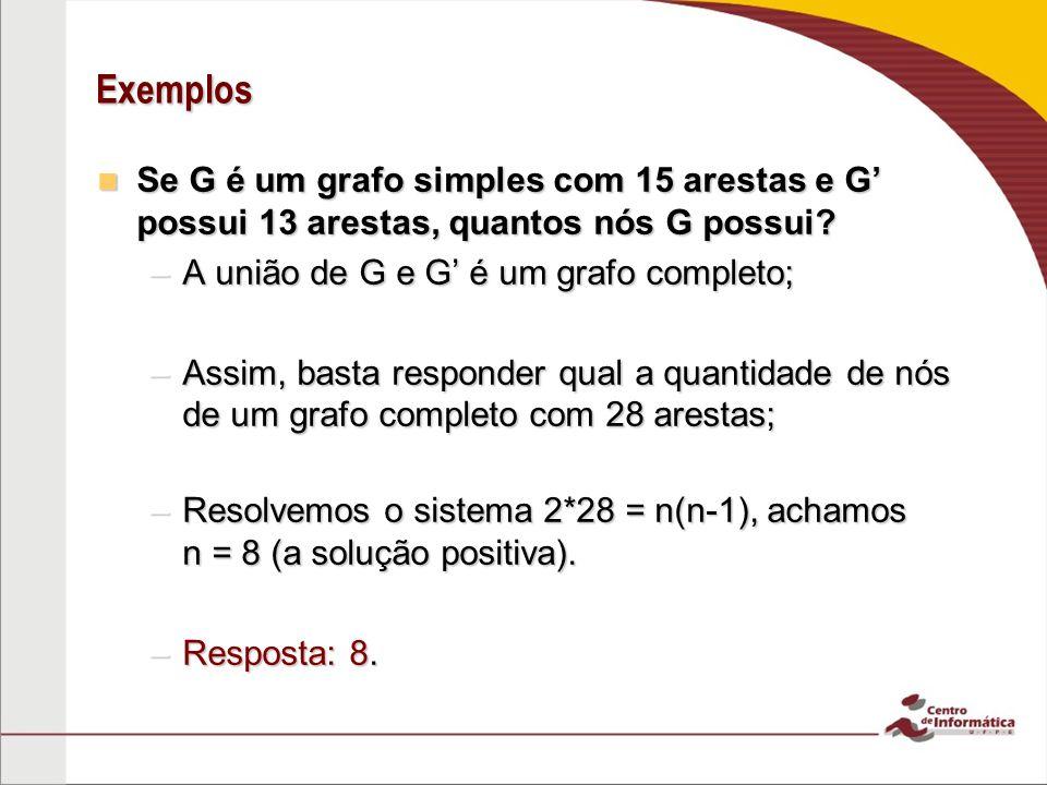 Exemplos Se G é um grafo simples com 15 arestas e G possui 13 arestas, quantos nós G possui? Se G é um grafo simples com 15 arestas e G possui 13 ares