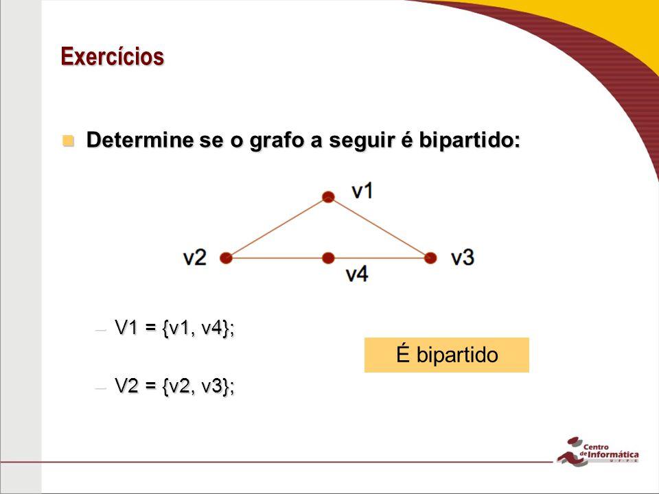 Exercícios Determine se o grafo a seguir é bipartido: Determine se o grafo a seguir é bipartido: –V1 = {v1, v4}; –V2 = {v2, v3}; É bipartido