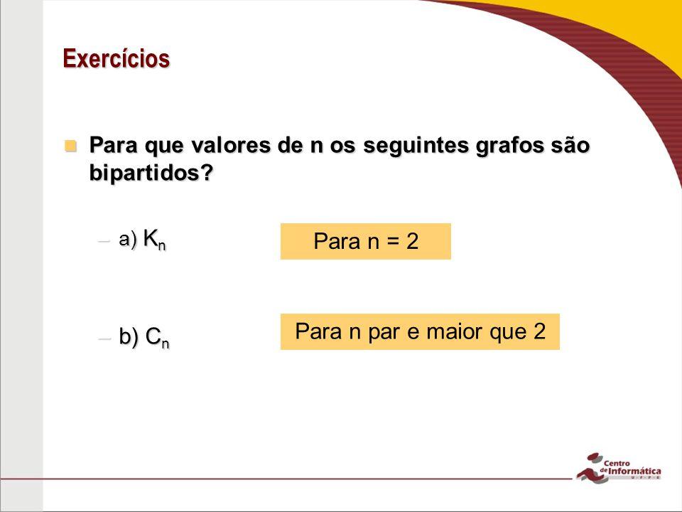 Exercícios Para que valores de n os seguintes grafos são bipartidos? Para que valores de n os seguintes grafos são bipartidos? –a) K n –b) C n Para n