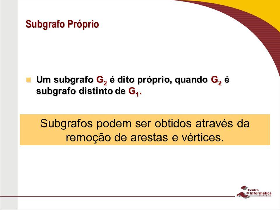 Subgrafo Próprio Um subgrafo G 2 é dito próprio, quando G 2 é subgrafo distinto de G 1. Um subgrafo G 2 é dito próprio, quando G 2 é subgrafo distinto