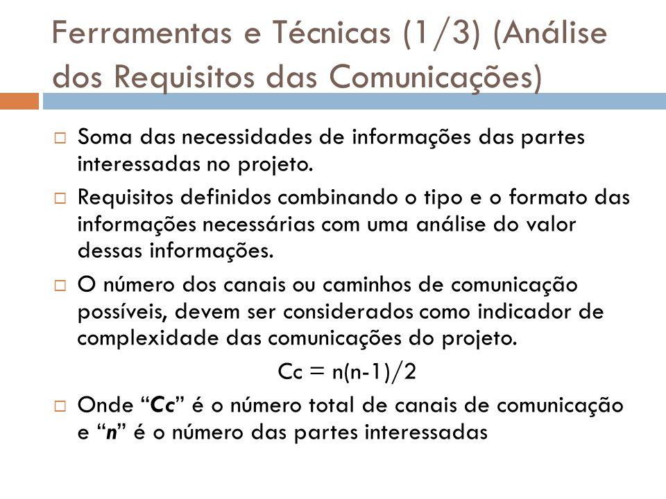 Ferramentas e Técnicas (1/3) (Análise dos Requisitos das Comunicações) Soma das necessidades de informações das partes interessadas no projeto. Requis