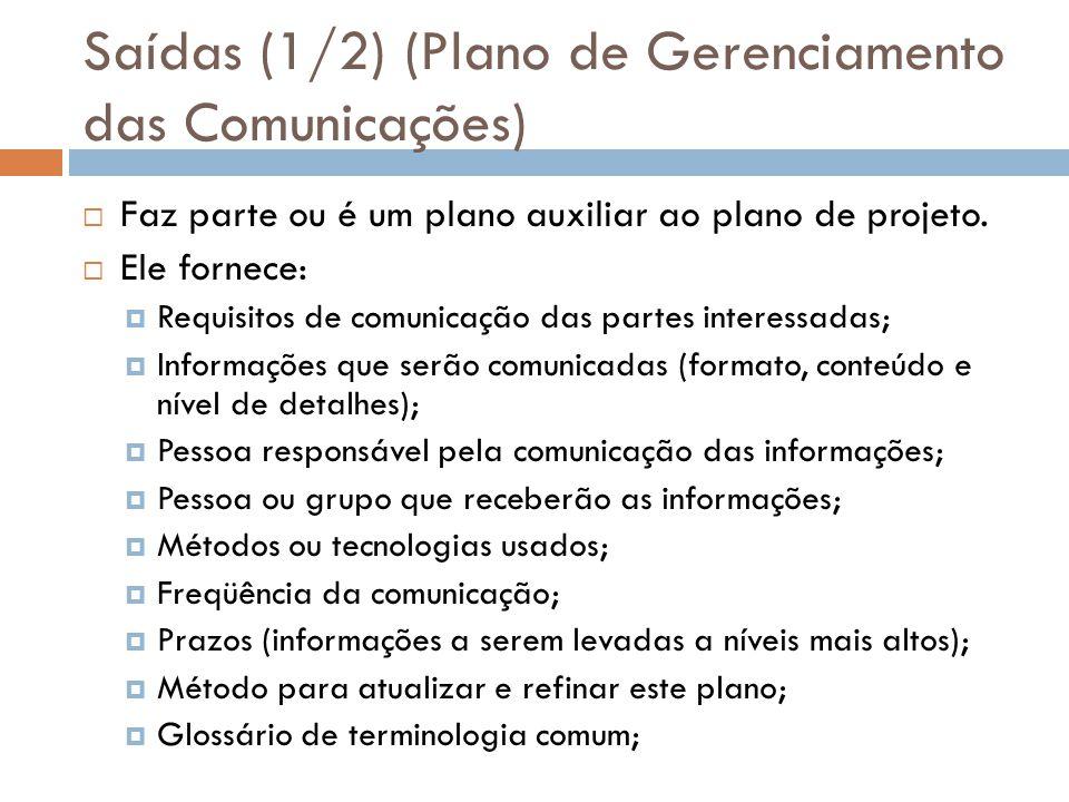 Saídas (1/2) (Plano de Gerenciamento das Comunicações) Faz parte ou é um plano auxiliar ao plano de projeto. Ele fornece: Requisitos de comunicação da