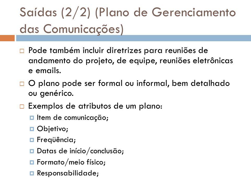 Saídas (2/2) (Plano de Gerenciamento das Comunicações) Pode também incluir diretrizes para reuniões de andamento do projeto, de equipe, reuniões eletrônicas e emails.