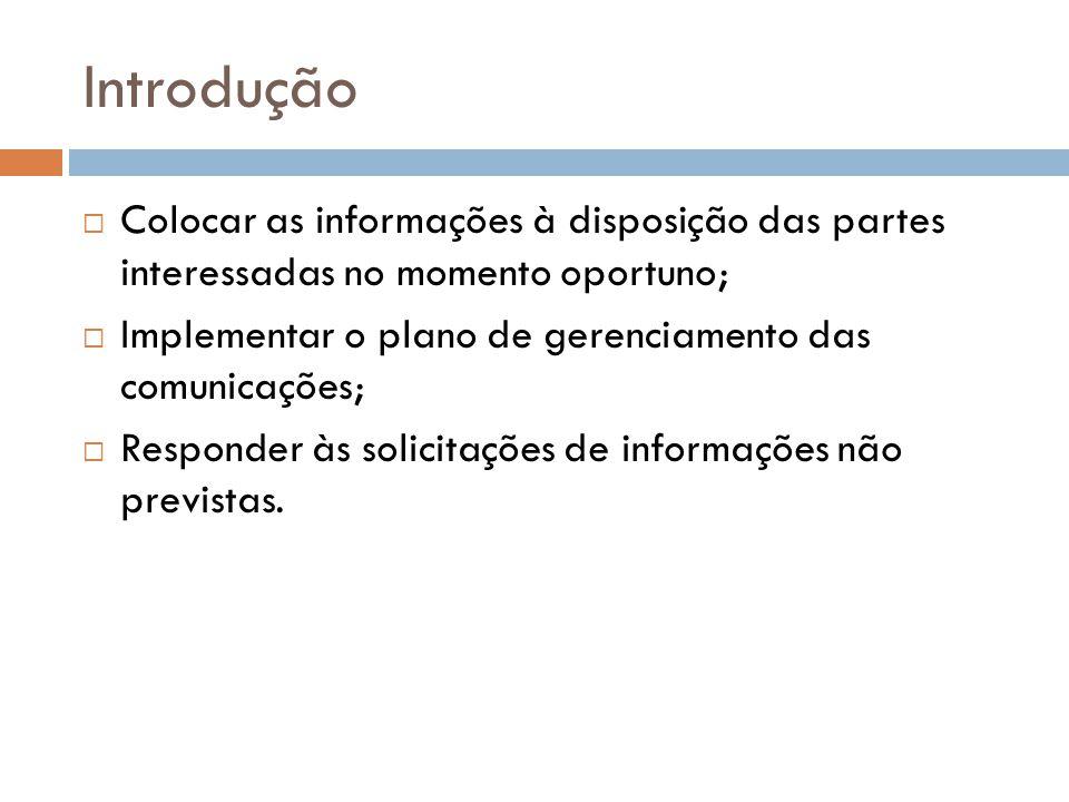 Introdução Colocar as informações à disposição das partes interessadas no momento oportuno; Implementar o plano de gerenciamento das comunicações; Responder às solicitações de informações não previstas.