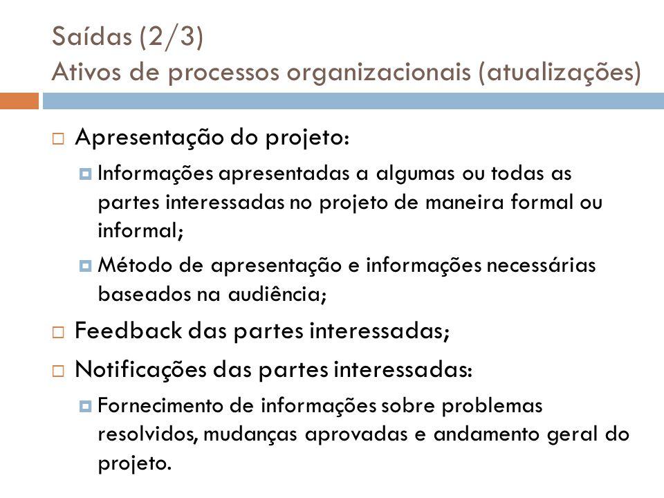 Saídas (2/3) Ativos de processos organizacionais (atualizações) Apresentação do projeto: Informações apresentadas a algumas ou todas as partes interes