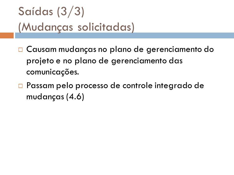 Saídas (3/3) (Mudanças solicitadas) Causam mudanças no plano de gerenciamento do projeto e no plano de gerenciamento das comunicações. Passam pelo pro