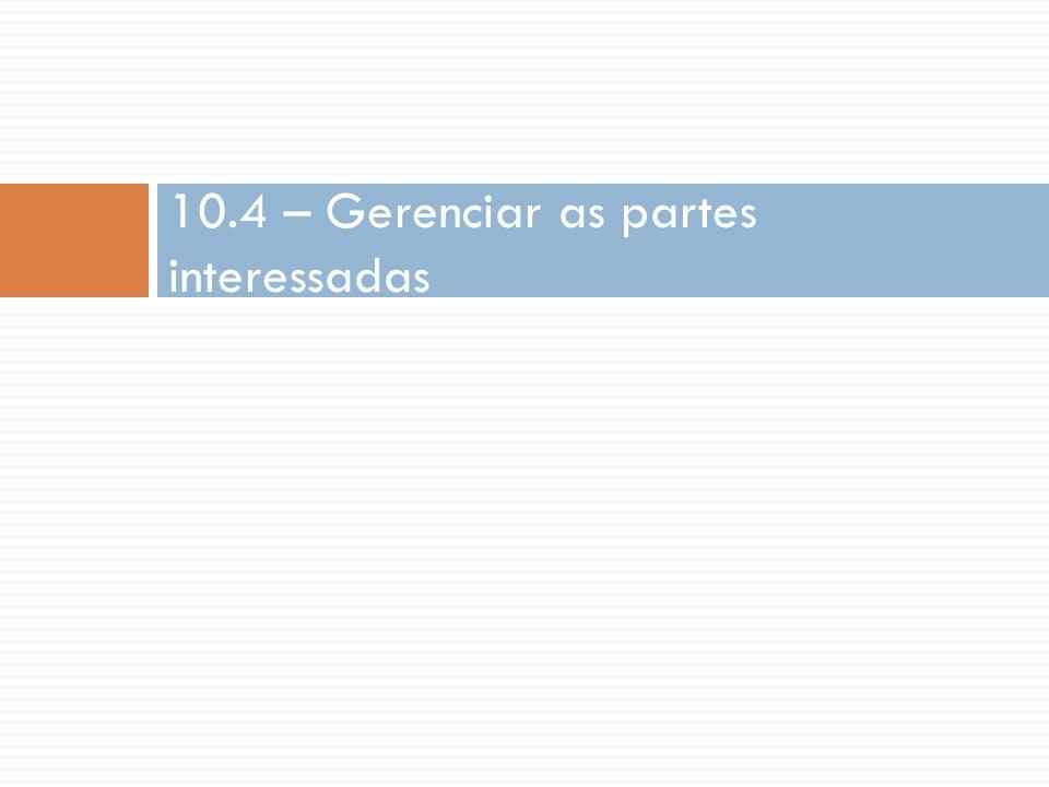 10.4 – Gerenciar as partes interessadas
