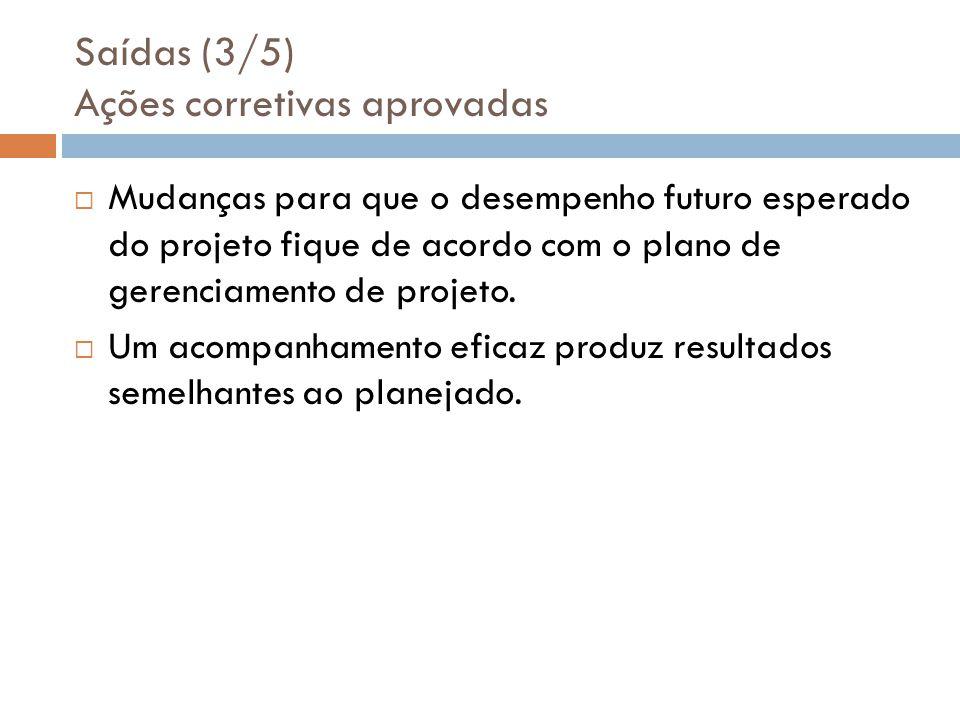 Saídas (3/5) Ações corretivas aprovadas Mudanças para que o desempenho futuro esperado do projeto fique de acordo com o plano de gerenciamento de projeto.