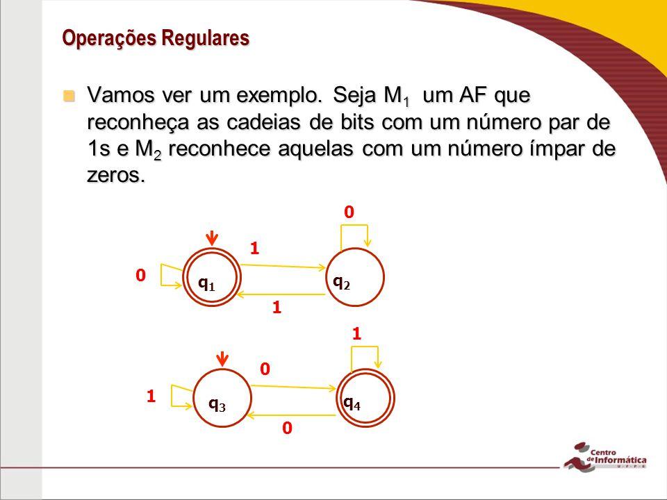 Operações Regulares Construindo M 1 M 2 Construindo M 1 M 2 q1q1 q2q2 1 1 0 q3q3 q4q4 0 0 1 0 1 M 1 =(Q 1, 1, 1,q 1,F 1 ), M 2 =(Q 2, 2, 2,q 3,F 2 ) M =(Q 1 Q 2,,,(q 1, q 3 ),F) q 1, q 3 q 1, q 4 0 0 q 2, q 3 q 2, q 4 0 0 1 1 1 ((r 1, r 2 ),a)=( 1 (r 1,a), 2 (r 2,a)) F 1 = (F 1 Q 2 ) (Q 1 F 2 )