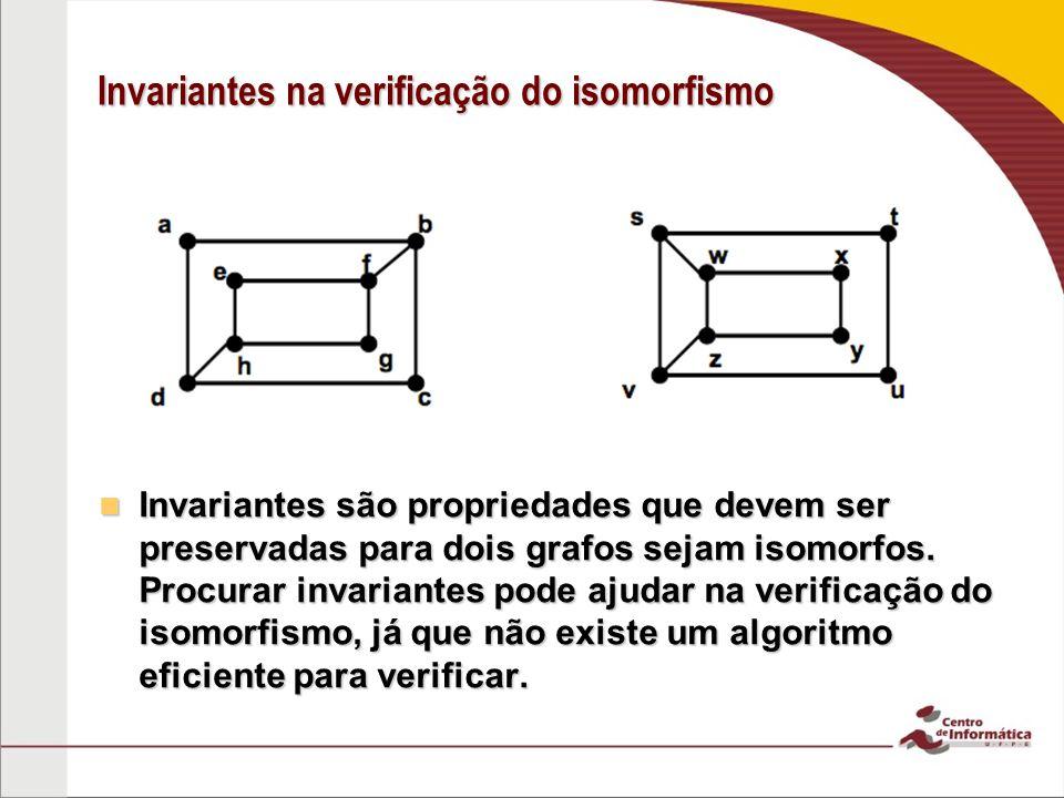Invariantes na verificação do isomorfismo Invariantes são propriedades que devem ser preservadas para dois grafos sejam isomorfos. Procurar invariante