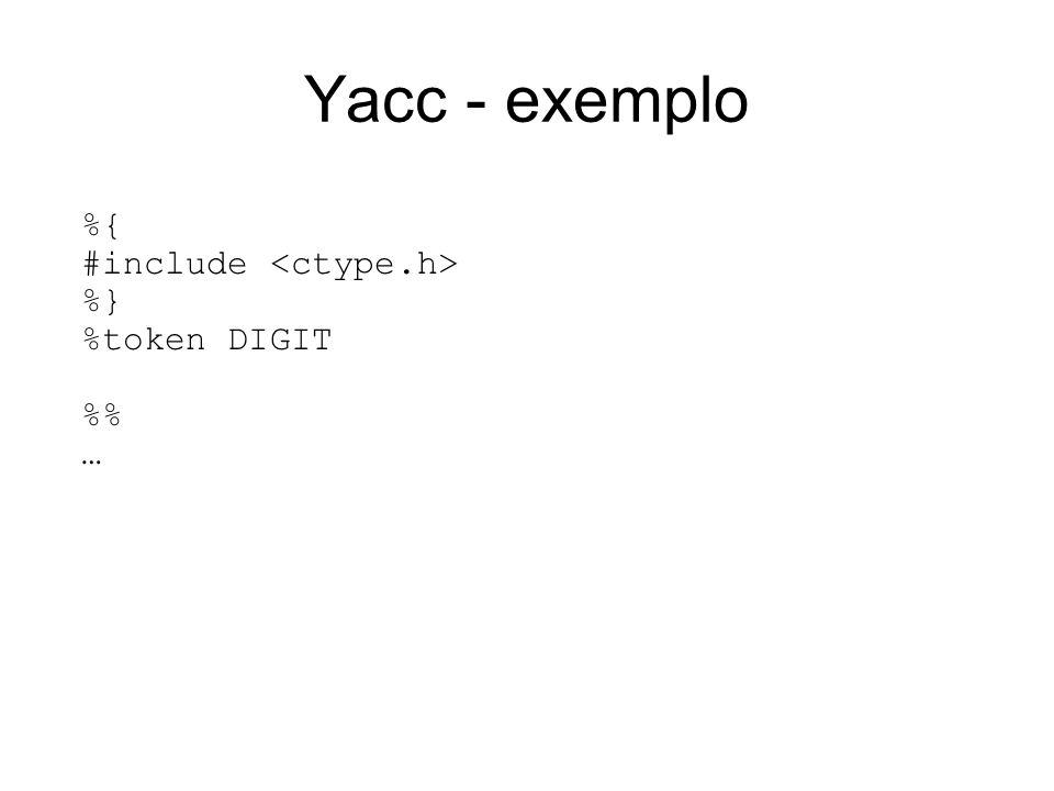 Yacc - exemplo %{ #include %} %token DIGIT % …