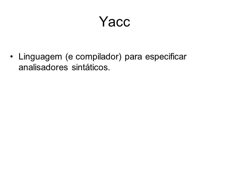 Organização Compilador yacc (yacc ou bison -d) Compilador yacc (yacc ou bison -d) Programa fonte parser.l y.tab.c y.tab.h C compiler* y.tab.c lex.yy.c a.out EntradaResultado da execução do parser *: cc y.tab.c lex.yy.c –ly ou cc y.tab.c lex.yy.c