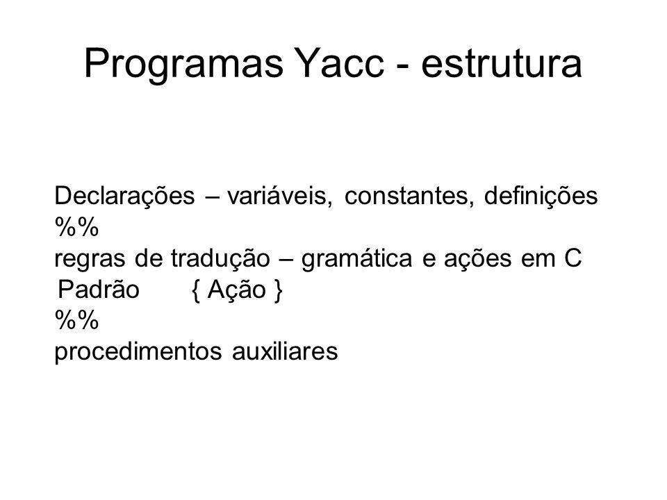 Programas Yacc - estrutura Declarações – variáveis, constantes, definições % regras de tradução – gramática e ações em C Padrão { Ação } % procediment
