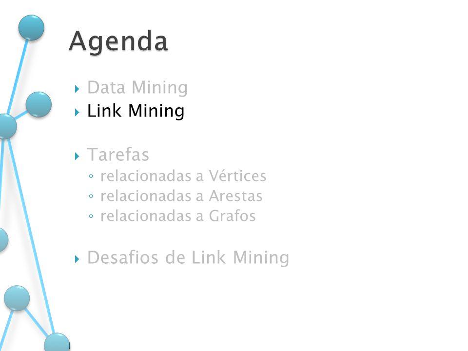 Data Mining Link Mining Tarefas relacionadas a Vértices relacionadas a Arestas relacionadas a Grafos Desafios de Link Mining