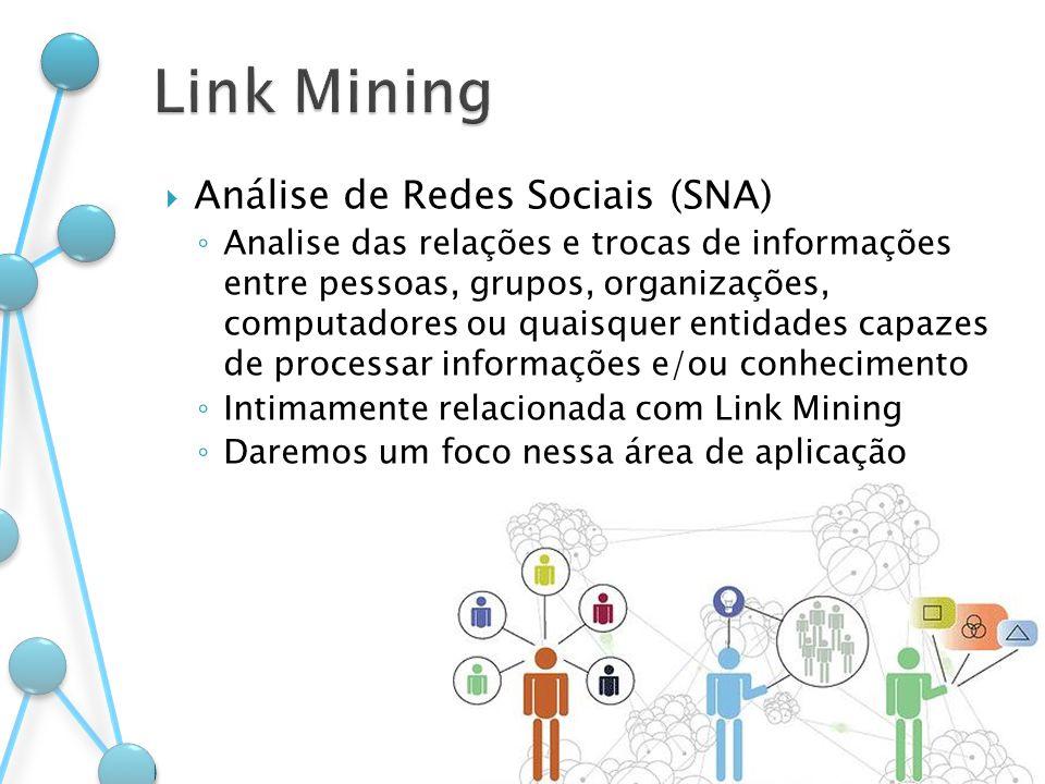 Análise de Redes Sociais (SNA) Analise das relações e trocas de informações entre pessoas, grupos, organizações, computadores ou quaisquer entidades c