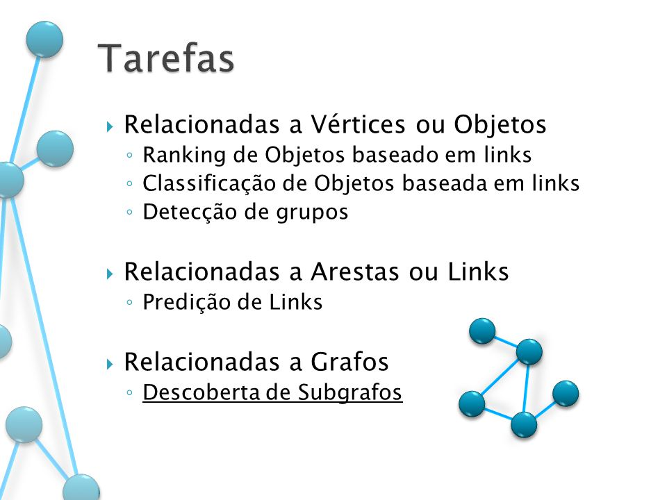 Relacionadas a Vértices ou Objetos Ranking de Objetos baseado em links Classificação de Objetos baseada em links Detecção de grupos Relacionadas a Are