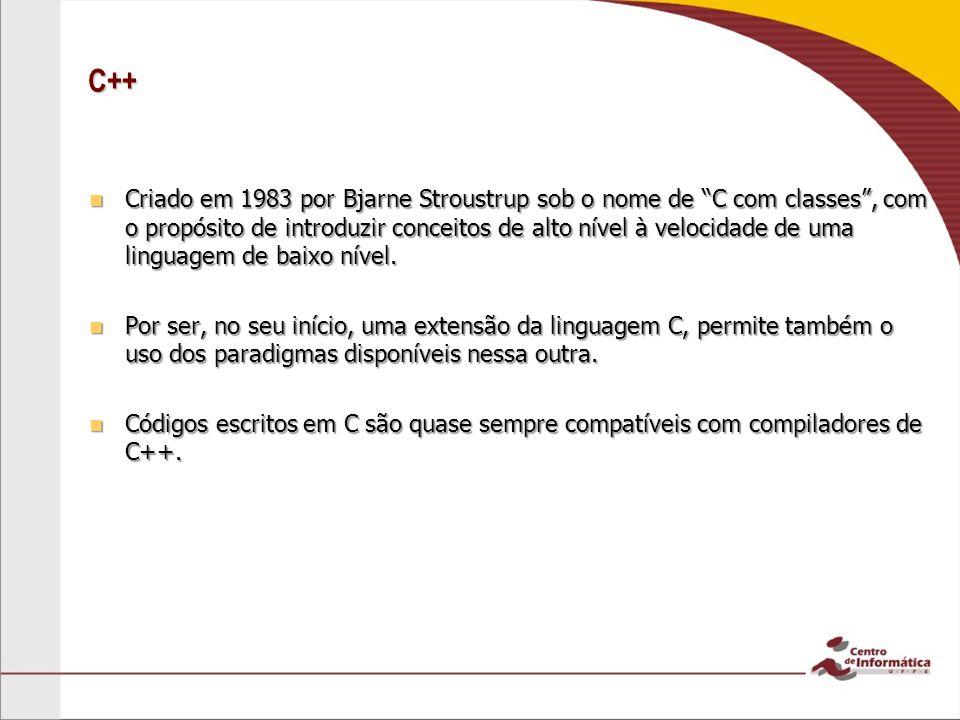 C++ Criado em 1983 por Bjarne Stroustrup sob o nome de C com classes, com o propósito de introduzir conceitos de alto nível à velocidade de uma linguagem de baixo nível.