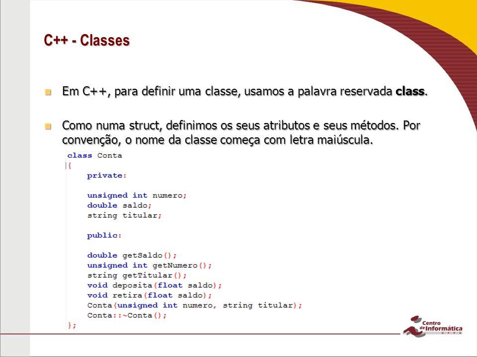 C++ - Classes Usamos as palavras reservadas public, protected e private para restringir o acesso à membros da classe: Usamos as palavras reservadas public, protected e private para restringir o acesso à membros da classe: –Membros public podem ser acessados em qualquer lugar.