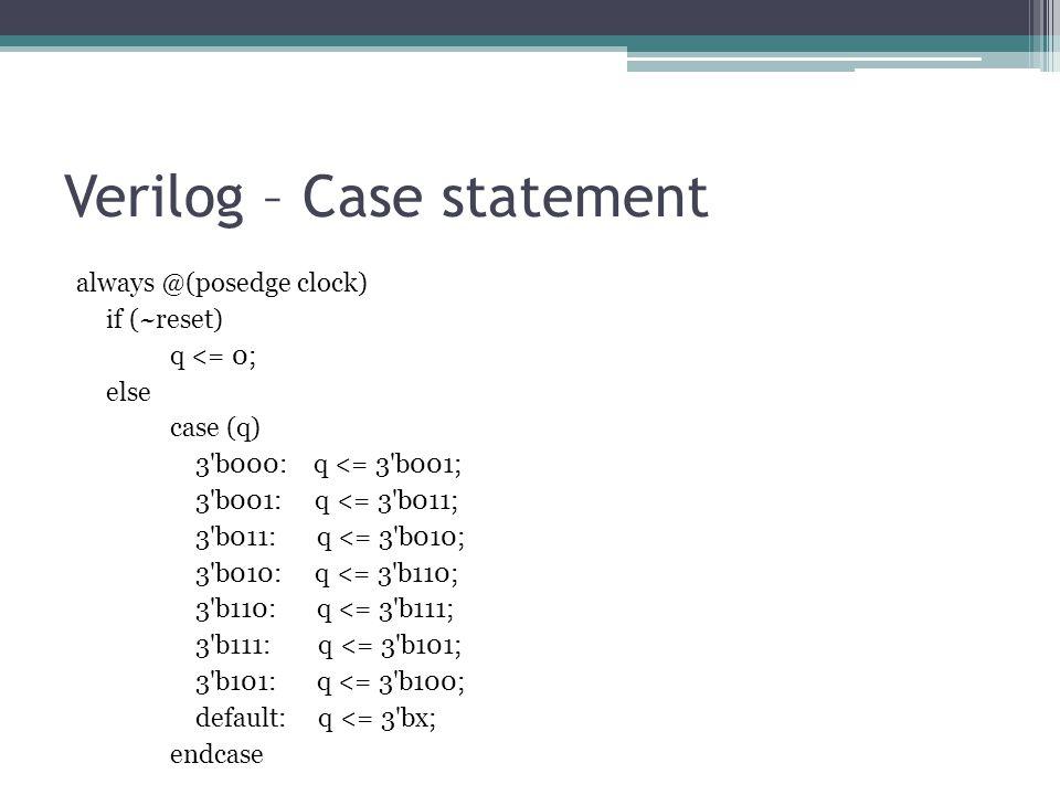 Verilog – Case statement always @(posedge clock) if (~reset) q <= 0; else case (q) 3'b000: q <= 3'b001; 3'b001: q <= 3'b011; 3'b011: q <= 3'b010; 3'b0
