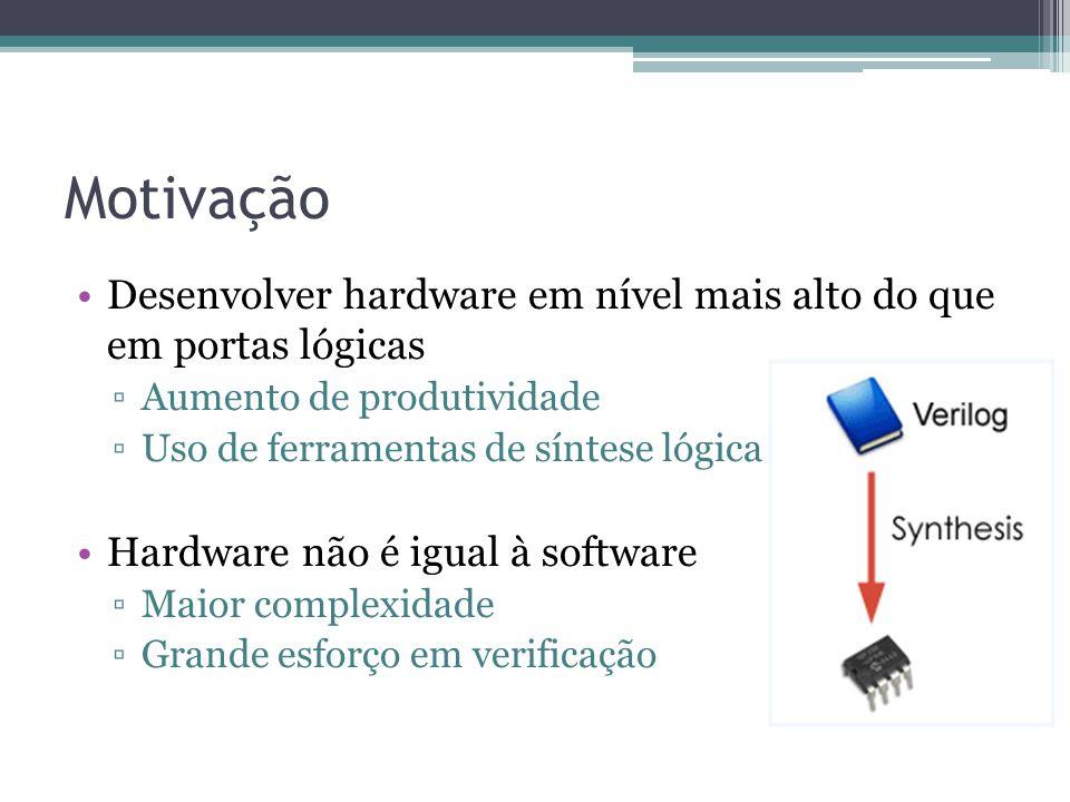 Desenvolver hardware em nível mais alto do que em portas lógicas Aumento de produtividade Uso de ferramentas de síntese lógica Hardware não é igual à