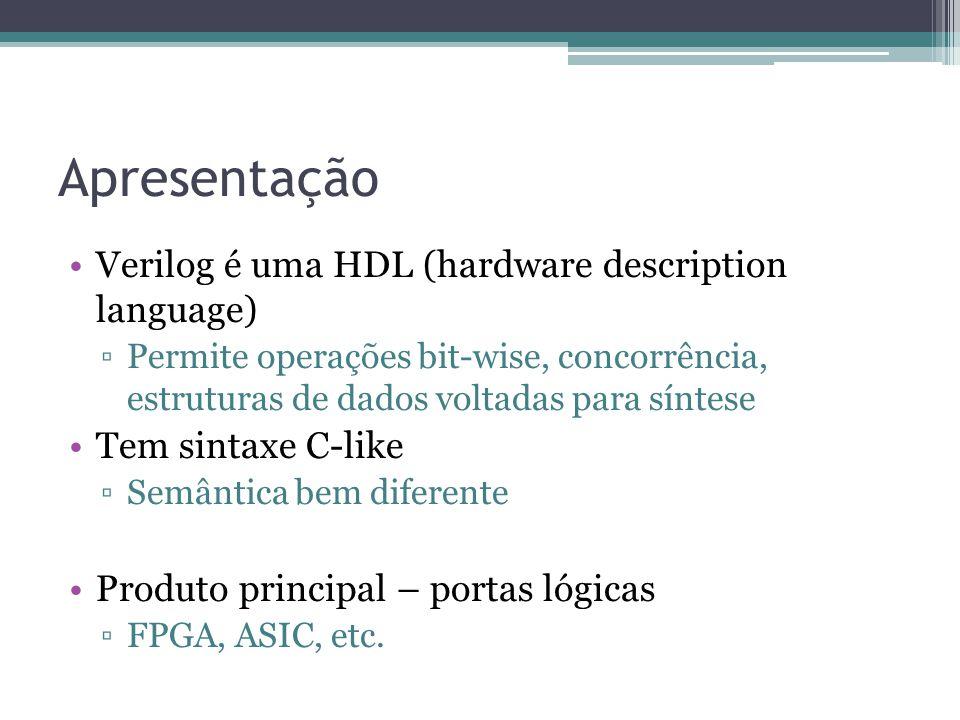 Apresentação Verilog é uma HDL (hardware description language) Permite operações bit-wise, concorrência, estruturas de dados voltadas para síntese Tem