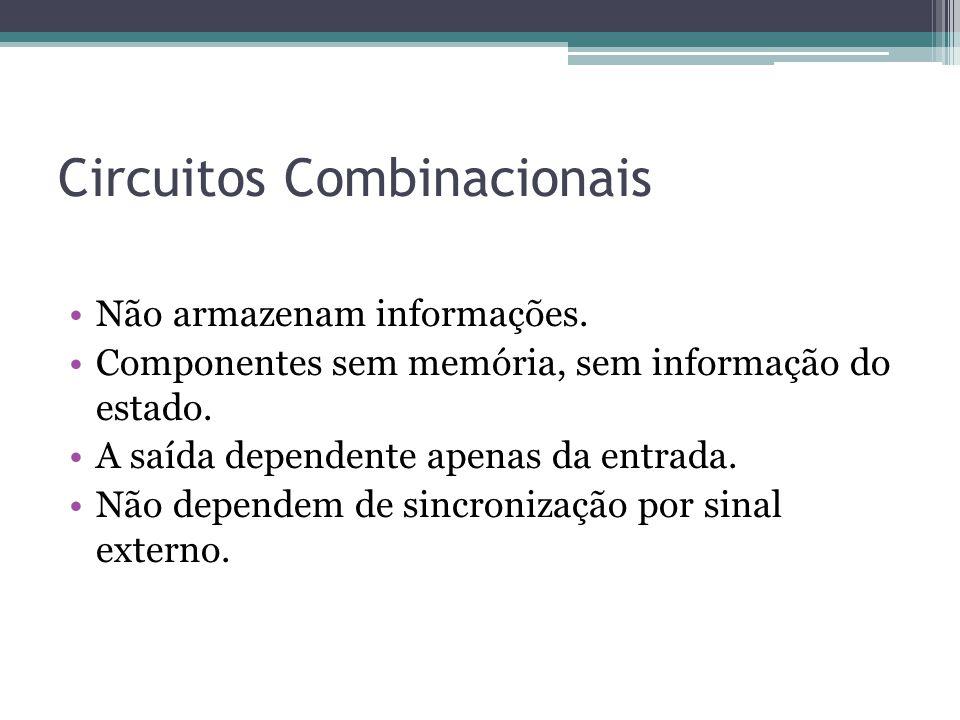 Circuitos Combinacionais Não armazenam informações. Componentes sem memória, sem informação do estado. A saída dependente apenas da entrada. Não depen