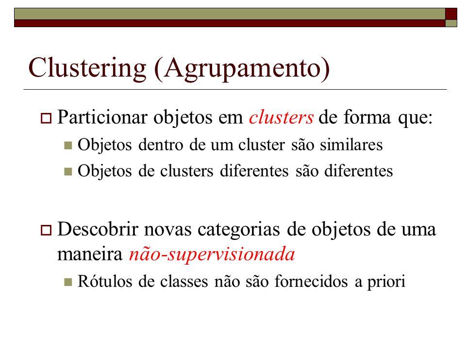 Clustering (Agrupamento) Particionar objetos em clusters de forma que: Objetos dentro de um cluster são similares Objetos de clusters diferentes são d