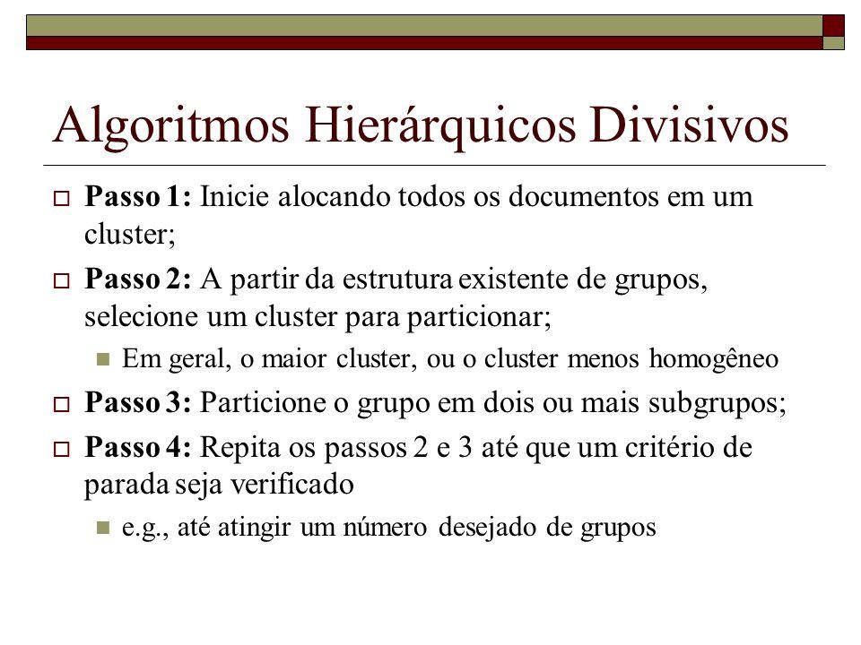 Algoritmos Hierárquicos Divisivos Passo 1: Inicie alocando todos os documentos em um cluster; Passo 2: A partir da estrutura existente de grupos, sele