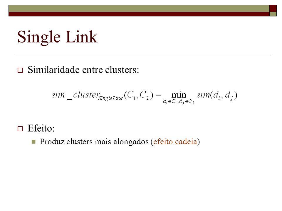 Single Link Similaridade entre clusters: Efeito: Produz clusters mais alongados (efeito cadeia)