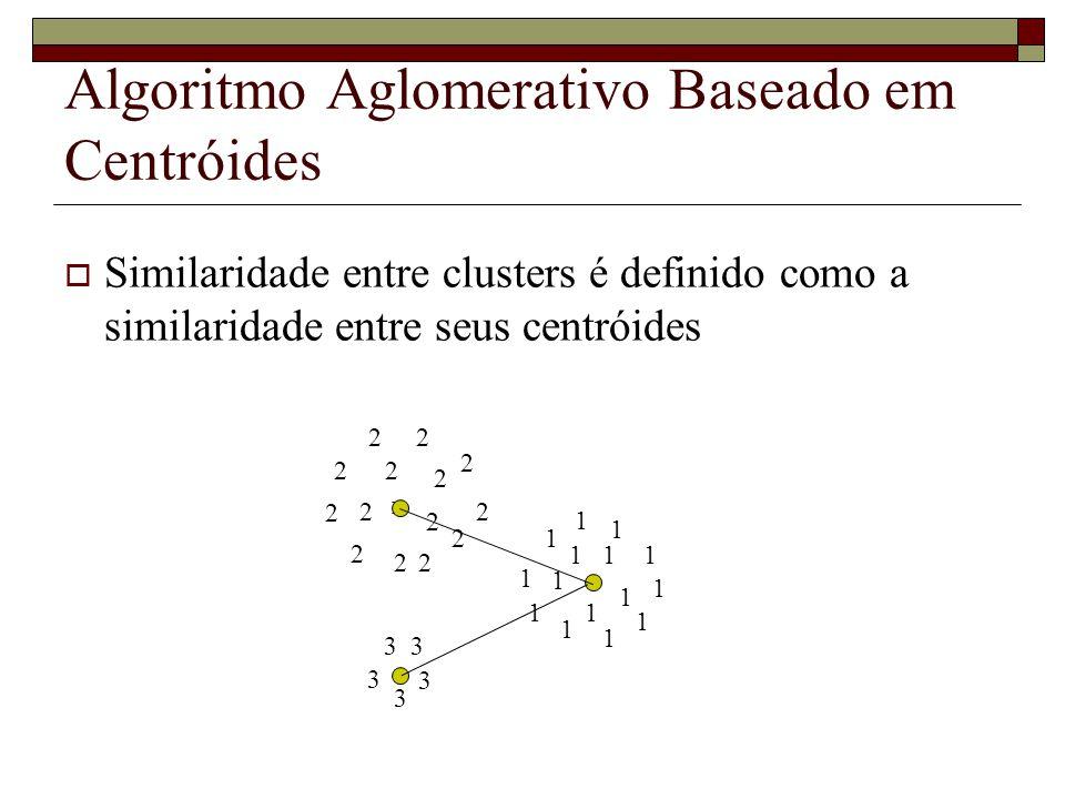 Algoritmo Aglomerativo Baseado em Centróides Similaridade entre clusters é definido como a similaridade entre seus centróides 1 1 1 1 1 2 2 x 2 2 3 3