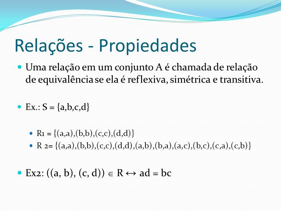 Relações - Propiedades Uma relação em um conjunto A é chamada de relação de equivalência se ela é reflexiva, simétrica e transitiva. Ex.: S = {a,b,c,d