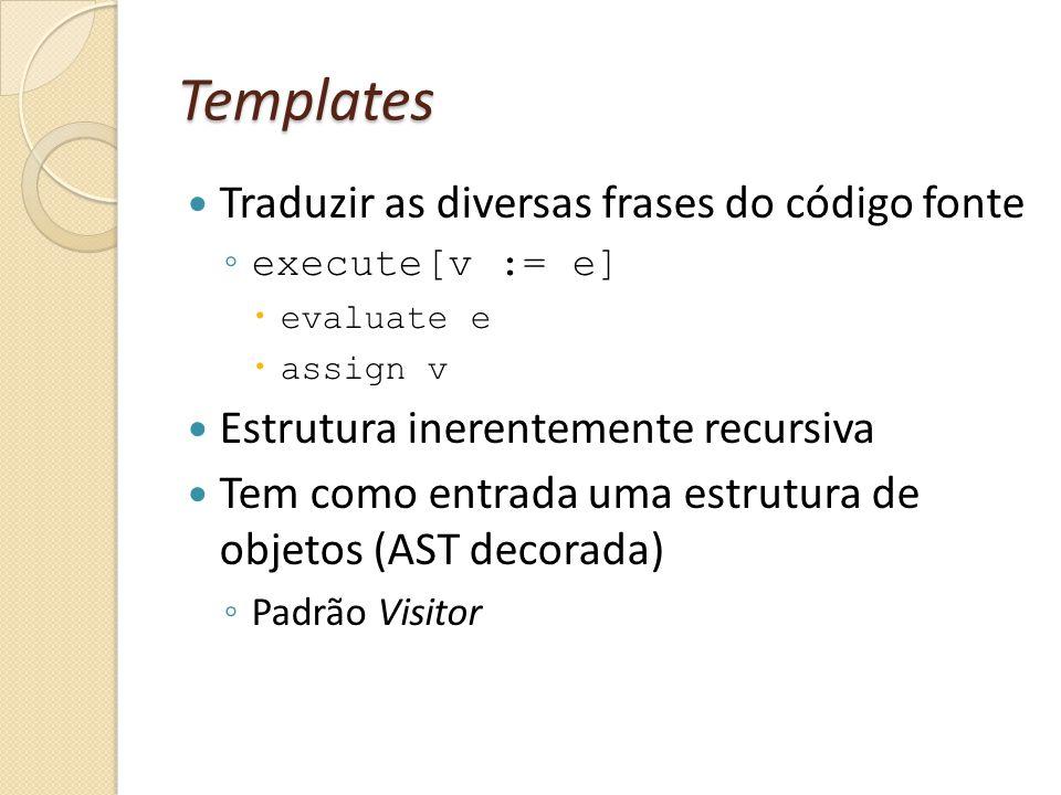 Templates Traduzir as diversas frases do código fonte execute[v := e] evaluate e assign v Estrutura inerentemente recursiva Tem como entrada uma estrutura de objetos (AST decorada) Padrão Visitor