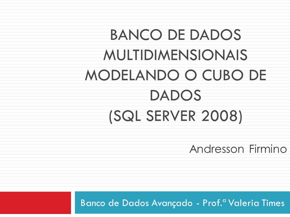 BANCO DE DADOS MULTIDIMENSIONAIS MODELANDO O CUBO DE DADOS (SQL SERVER 2008) Banco de Dados Avançado - Prof.ª Valeria Times Andresson Firmino
