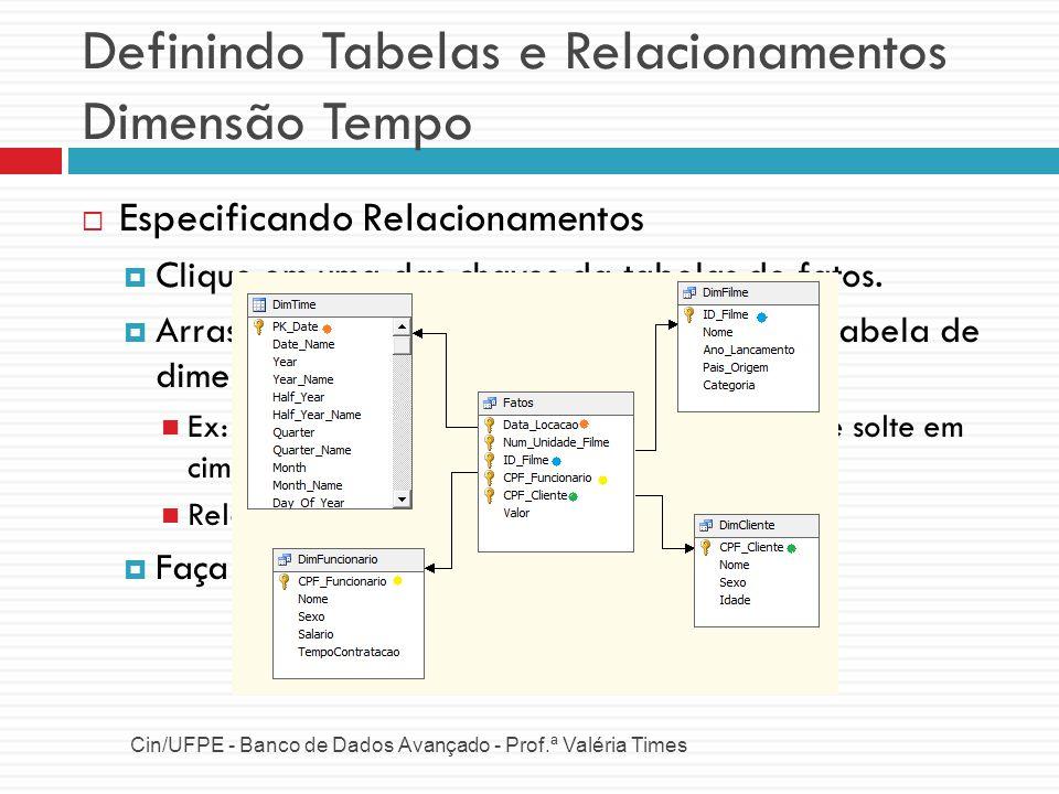Definindo Tabelas e Relacionamentos Dimensão Tempo Cin/UFPE - Banco de Dados Avançado - Prof.ª Valéria Times Especificando Relacionamentos Clique em u