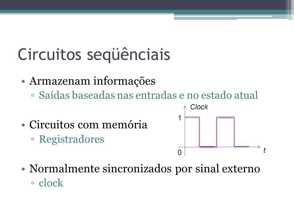 Circuitos seqüênciais Armazenam informações Saídas baseadas nas entradas e no estado atual Circuitos com memória Registradores Normalmente sincronizados por sinal externo clock 1 0 t Clock