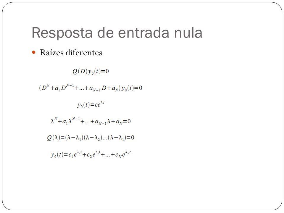 Resposta de entrada nula Raízes iguais Raízes complexas