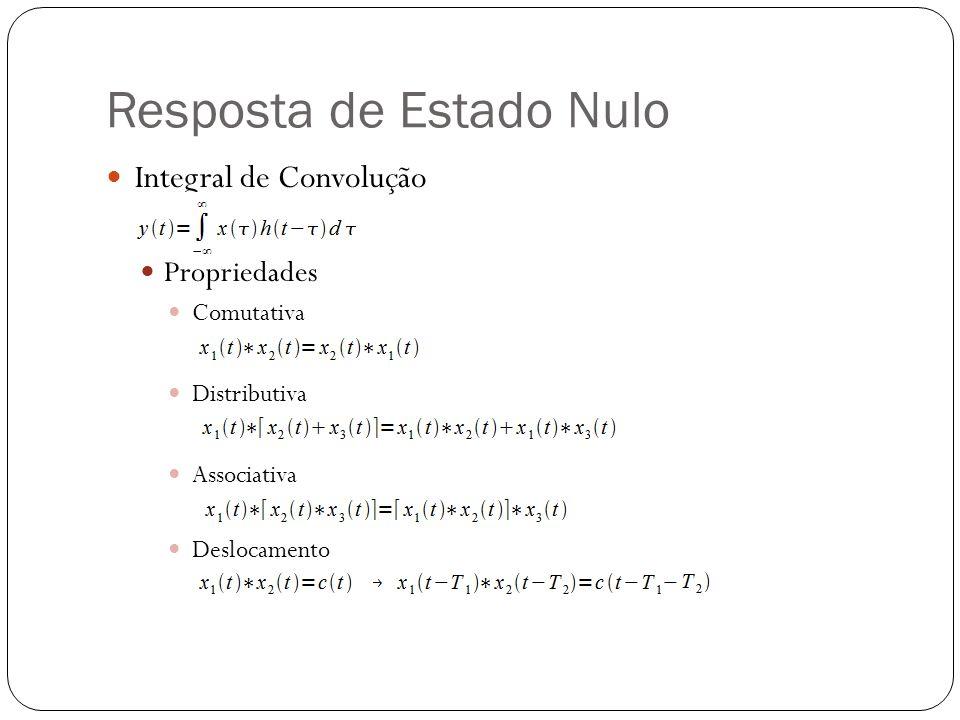 Resposta de Estado Nulo Integral de Convolução Propriedades Comutativa Distributiva Associativa Deslocamento