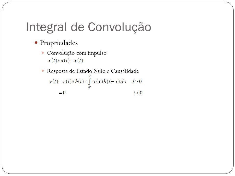 Integral de Convolução Propriedades Convolução com impulso Resposta de Estado Nulo e Causalidade