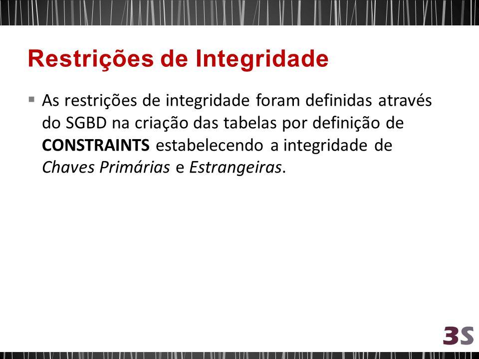 As restrições de integridade foram definidas através do SGBD na criação das tabelas por definição de CONSTRAINTS estabelecendo a integridade de Chaves