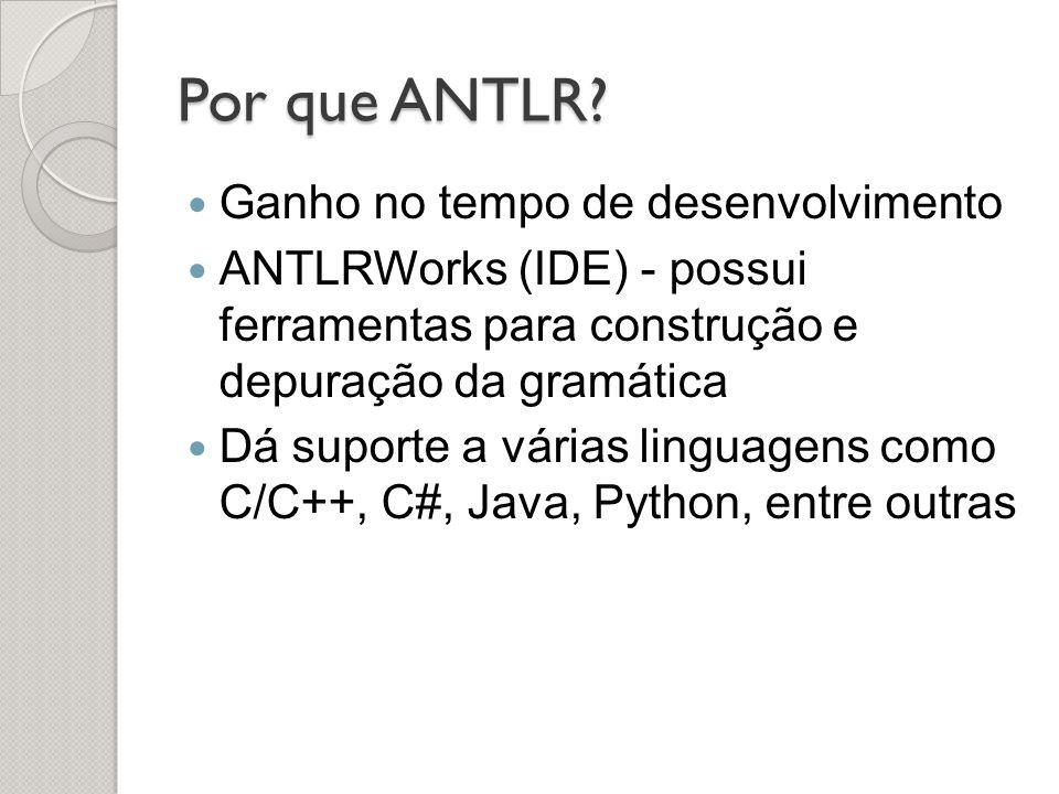 Por que ANTLR? Ganho no tempo de desenvolvimento ANTLRWorks (IDE) - possui ferramentas para construção e depuração da gramática Dá suporte a várias li