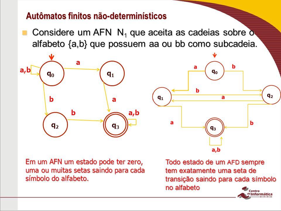 Autômatos finitos não-determinísticos Considere um AFN N 1 que aceita as cadeias sobre o alfabeto {a,b} que possuem aa ou bb como subcadeia.