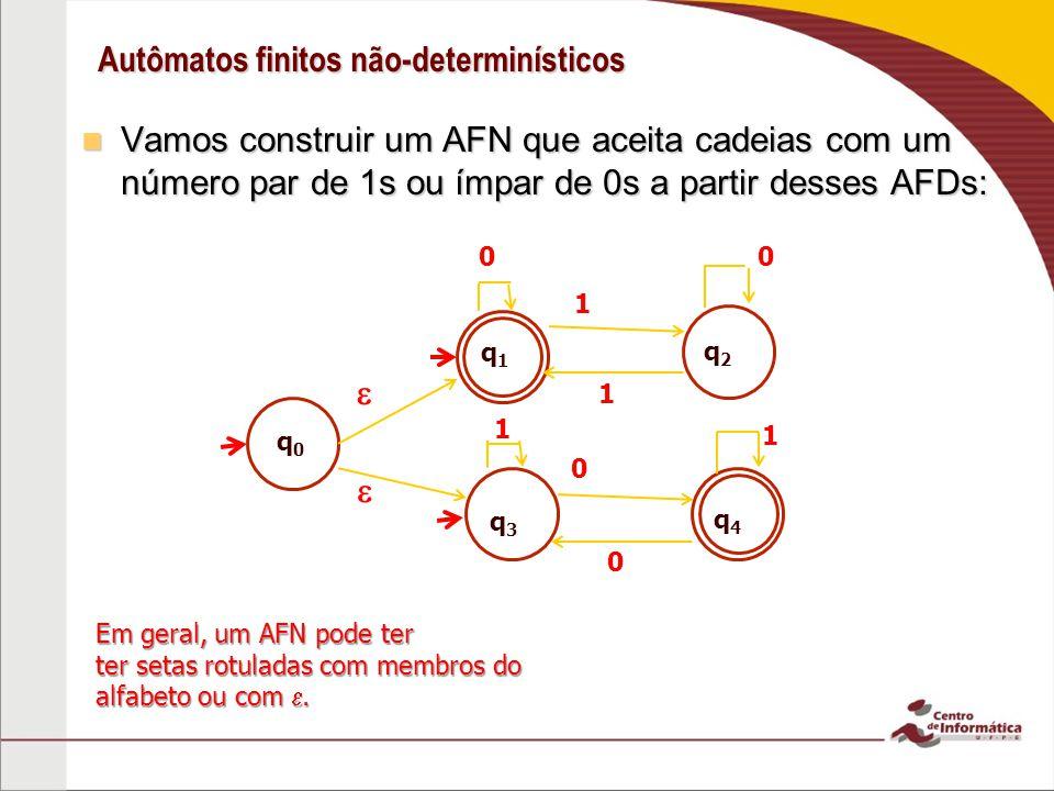 Autômatos finitos não-determinísticos Vamos construir um AFN que aceita cadeias com um número par de 1s ou ímpar de 0s a partir desses AFDs: Vamos construir um AFN que aceita cadeias com um número par de 1s ou ímpar de 0s a partir desses AFDs: Em geral, um AFN pode ter ter setas rotuladas com membros do alfabeto ou com.